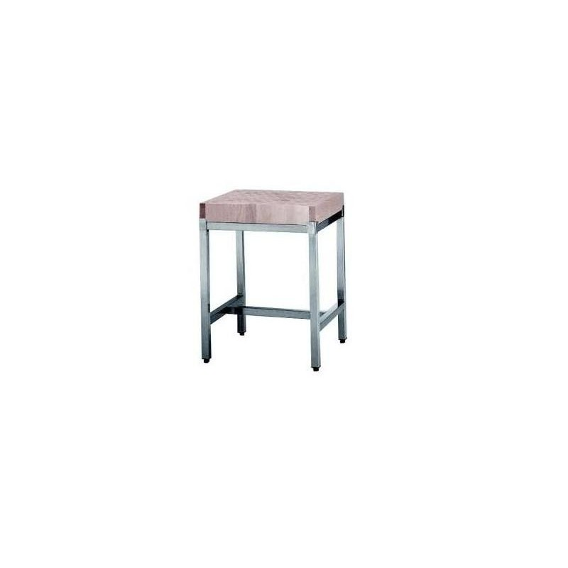 Billot bois sur pi tement inox for Pietement de table en bois
